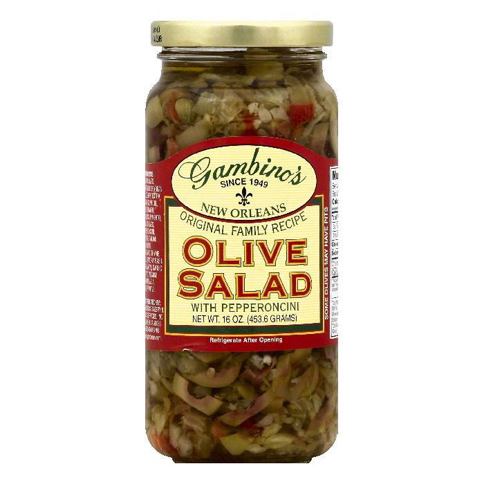 Gambinos Olive Salad With Pepperoncini, 16 OZ (Pack of 6)