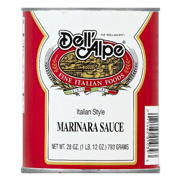 Dell Alpe Italian Style Marinara Sauce, 28 OZ (Pack of 12)