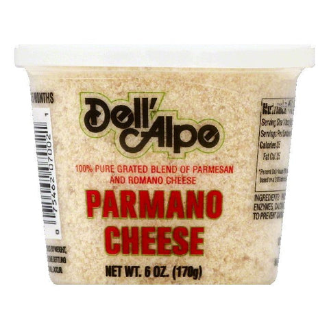 Dell Alpe Parmano Grated Cheese, 6 OZ (Pack of 12)