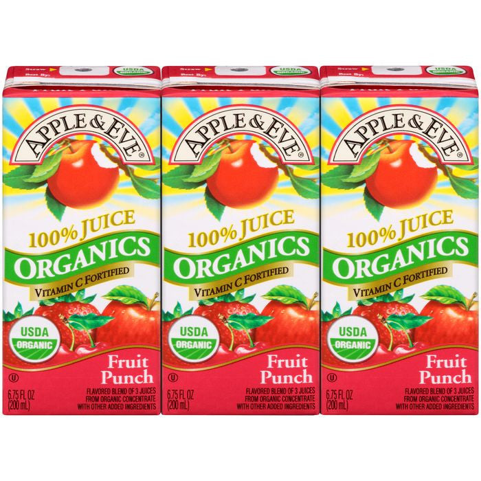 Apple & Eve Organics Fruit Punch 100% Juice 3-6.75 fl. Oz Aseptic Packs (Pack of 9)