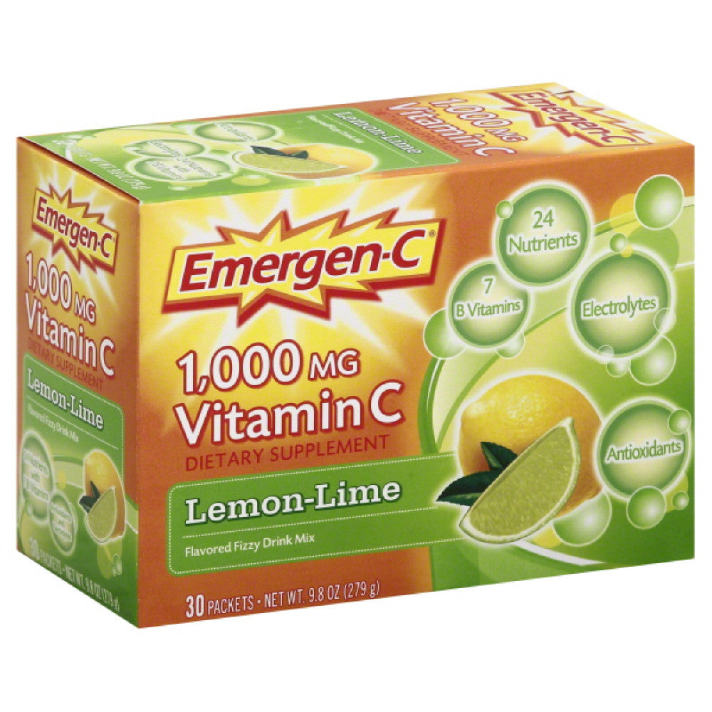 Emergen C Lemon-Lime 1000 Milligrams Vitamin C Flavored Fizzy Drink Mix, 9.8 Oz