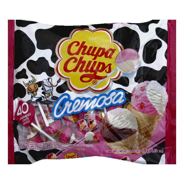 Chupa Chups Pops Creamosa Ice Cream 40pc, 16.93 OZ (Pack of 18)