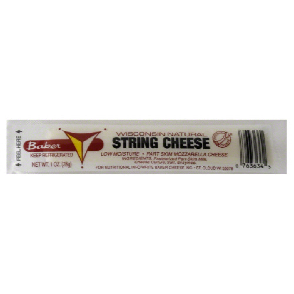 Baker Part Skim Mozzarella String Cheese, 1 Oz (Pack of 24)