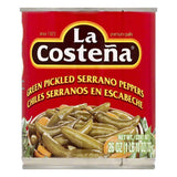 La Costena Green Pickled Serrano Peppers, 26 OZ (Pack of 12)