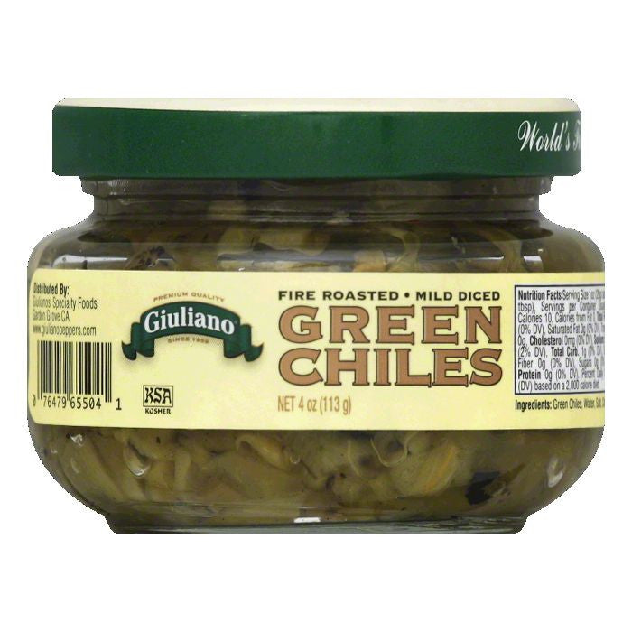 Giuliano Mild Diced Green Chiles, 4 OZ (Pack of 12)