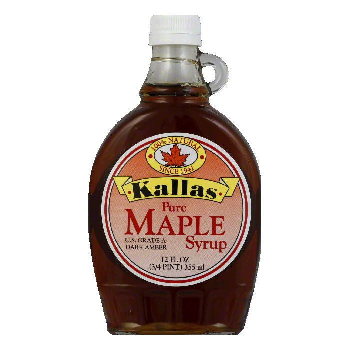 Kallas Syrup Pure Maple, 12 OZ (Pack of 12)