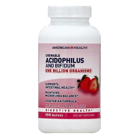 American Health Natural Strawberry Flavor Chewable Wafers Acidophilus and Bifidum, 100 ea