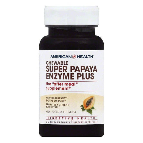 American Health Chewable Tablets High-Potency Super Plus Papaya Enzyme, 90 ea