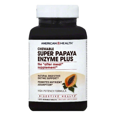 American Health Chewable Tablets Super Papaya Enzyme Plus, 180 ea