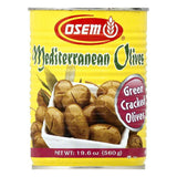 Osem Green Cracked Mediterranean Olives, 19.6 OZ (Pack of 12)