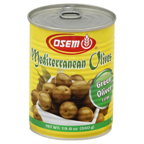 Osem Large Green Mediterranean Olives, 19.7 Oz (Pack of 12)