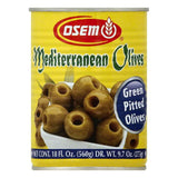 Osem Pitted Green Mediterranean Olives, 18 OZ (Pack of 12)