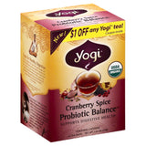 Yogi Cranberry Spice Probiotic Balance, 16 Bg (Pack of 6)