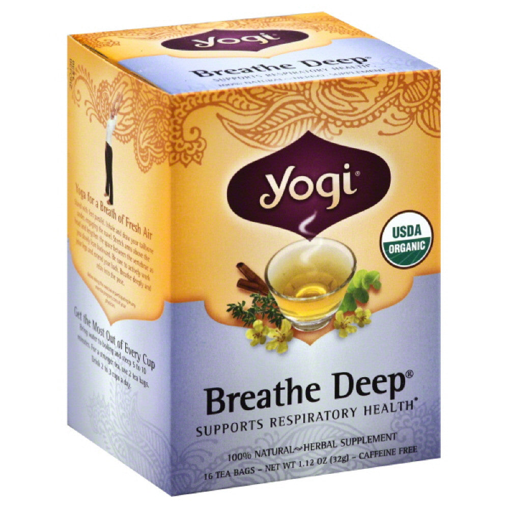 Yogi Breathe Deep Organic Tea Bags, 16 Bg (Pack of 6)