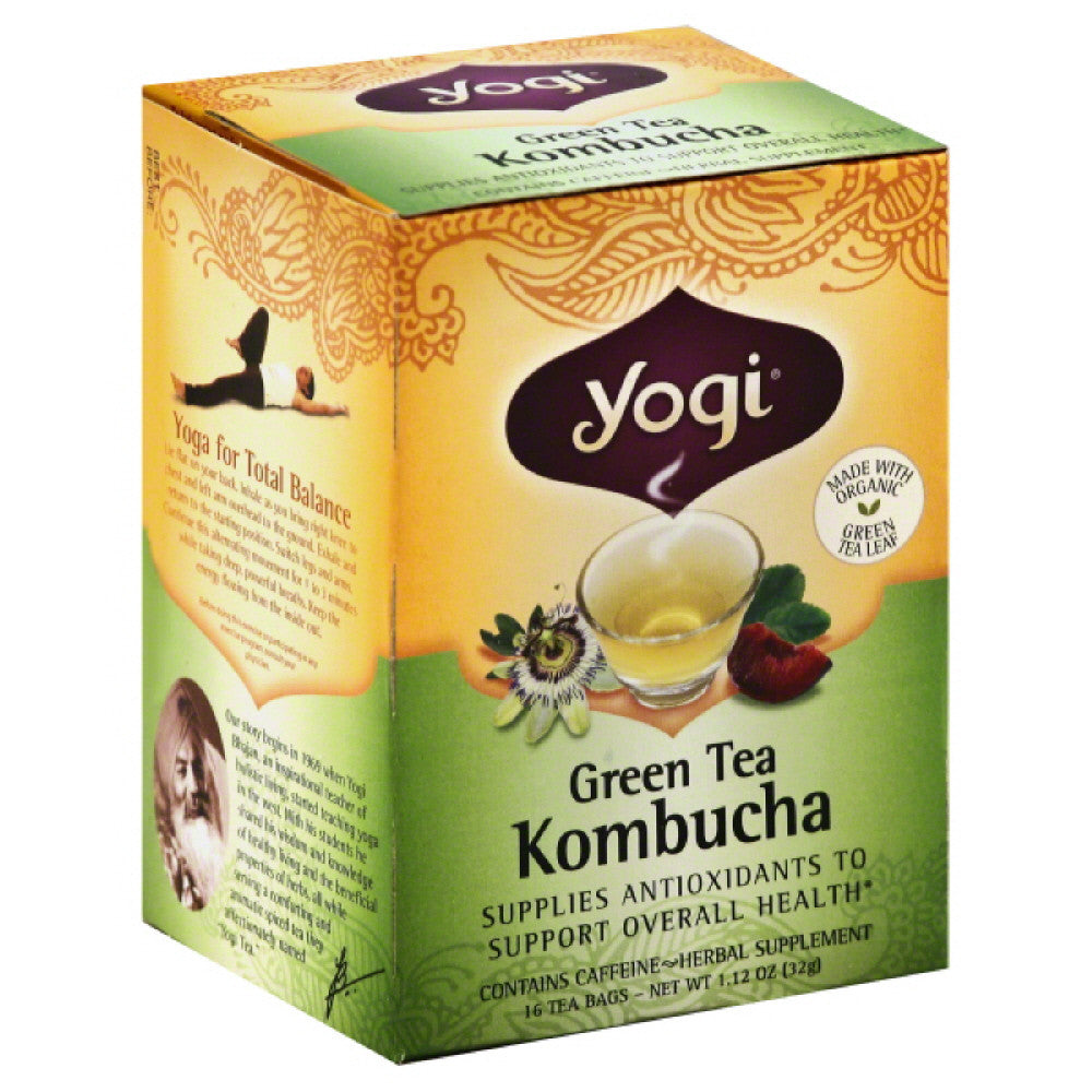 Yogi Kombucha Green Tea Bags, 16 Bg (Pack of 6)