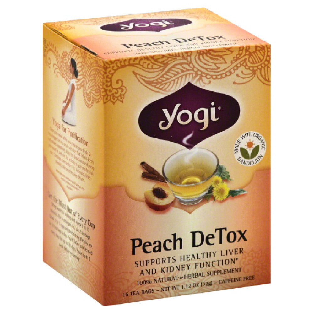 Yogi Caffeine Free Peach DeTox Tea Bags, 16 Bg (Pack of 6)