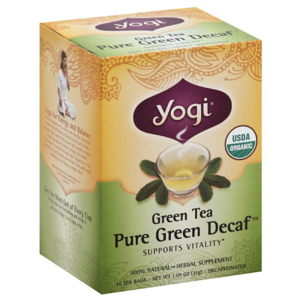Yogi Pure Green Decaf Green Tea Bags, 16 Bg (Pack of 6)