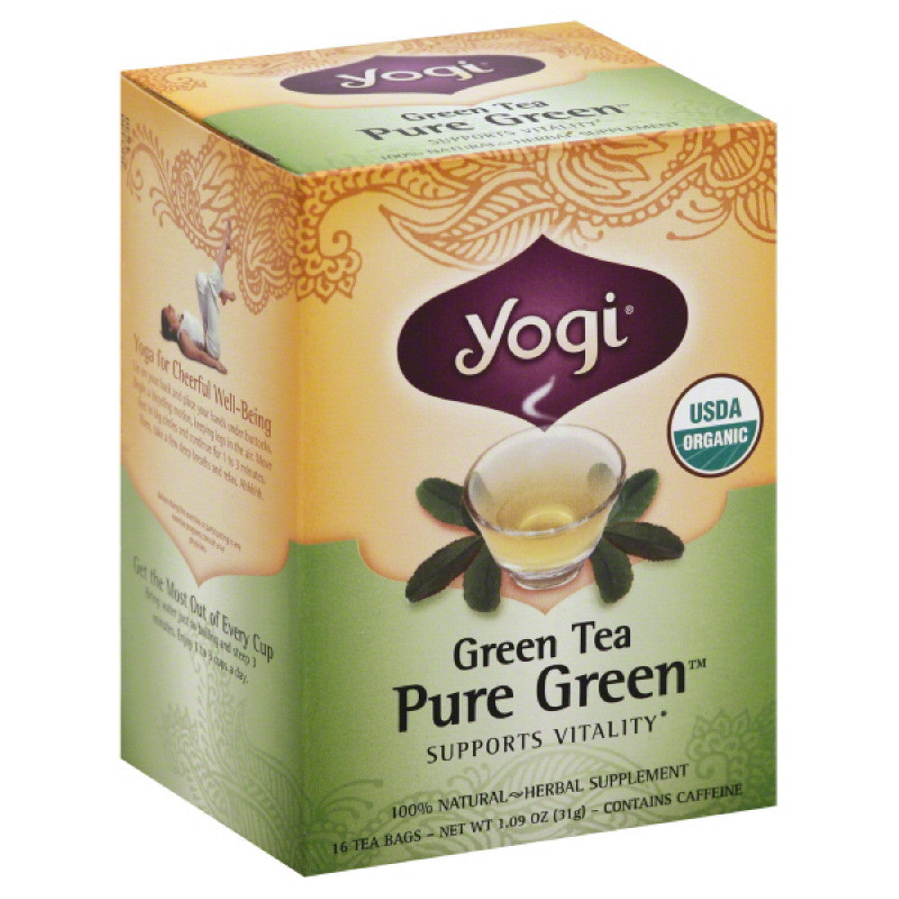 Yogi Organic Pure Green Bags Green Tea, 16 Bg (Pack of 6)