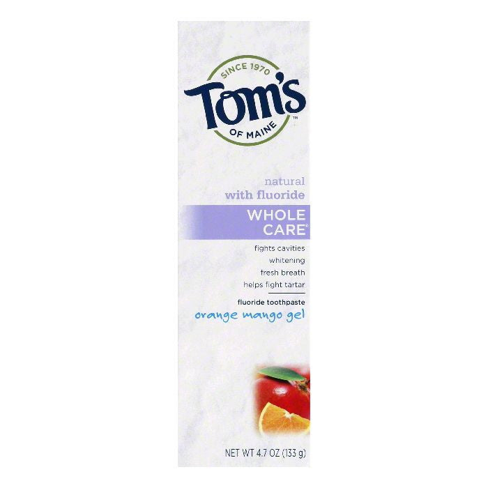 Tom's of Maine Whole Care Orange Mango Gel, 4.7 OZ (Pack of 6)