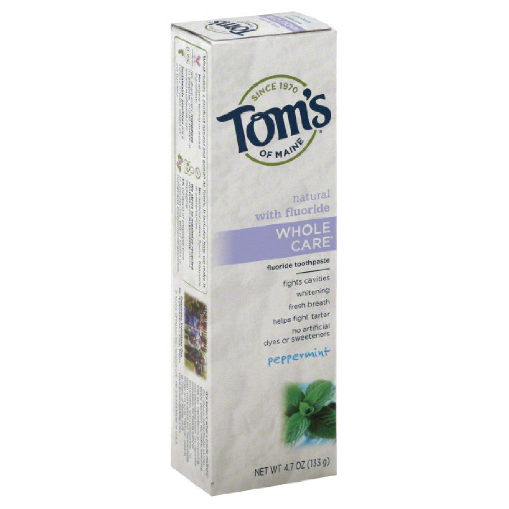 Toms of Maine Peppermint Fluoride Toothpaste, 4.7 Oz (Pack of 6)