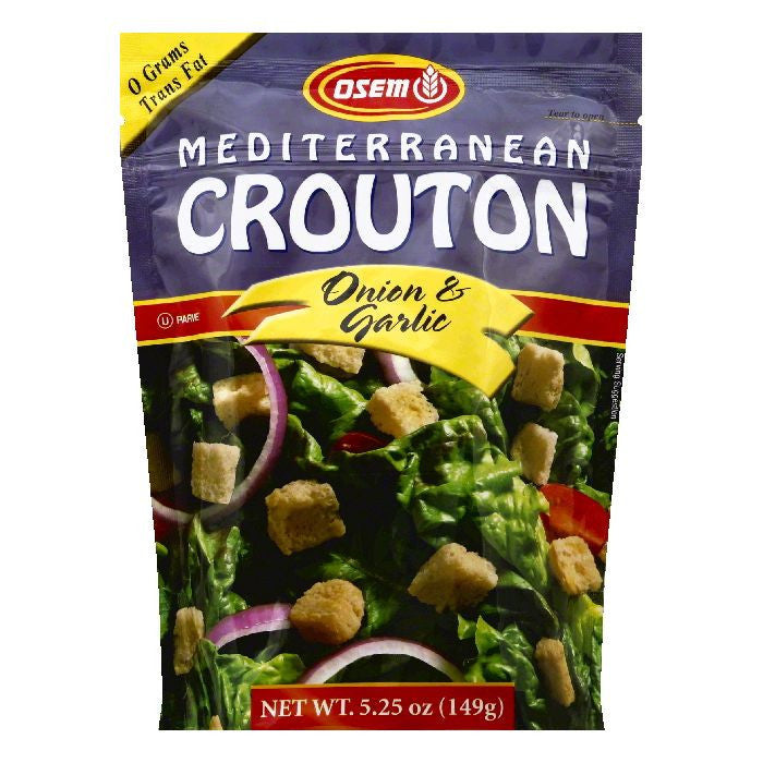 Osem Onion & Garlic Mediterranean Crouton, 5.25 OZ (Pack of 8)