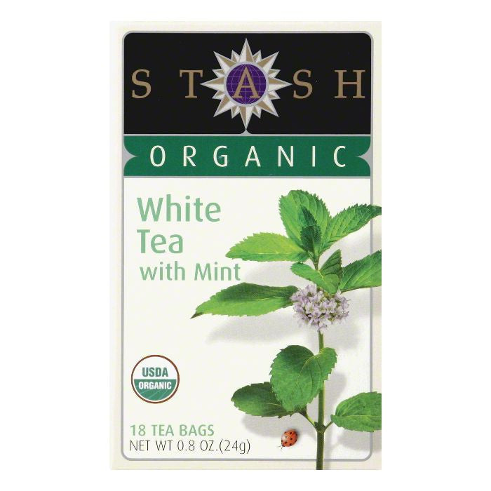 Stash Tea White Organic Mint, 18 BG (Pack of 6)