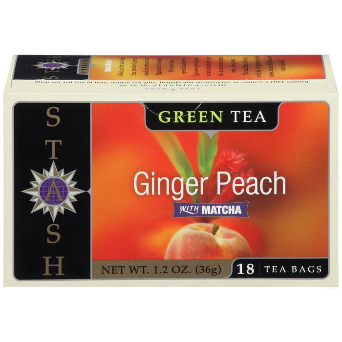 Stash Ginger Peach Green Tea Bags with Matcha 18 ct  (Pack of 6)