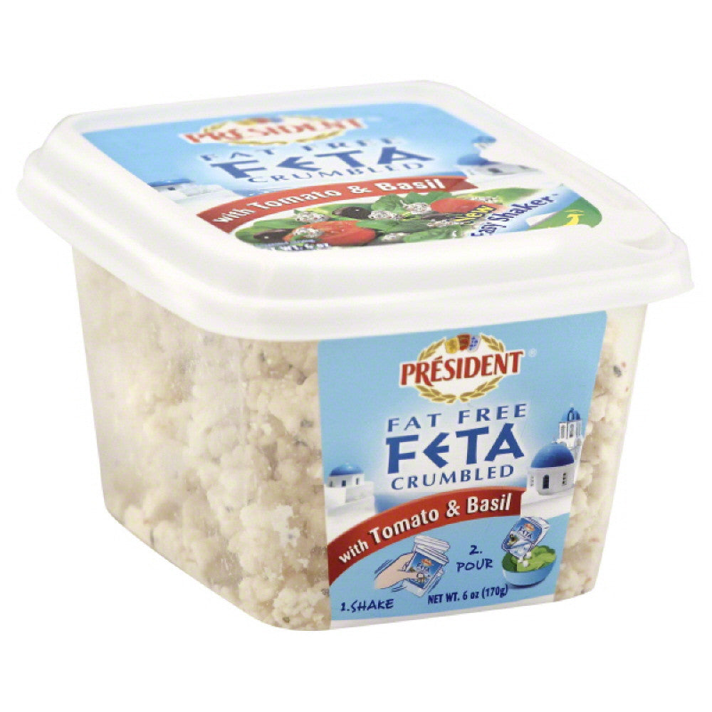 President Fat Free with Tomato & Basil Crumbled Feta, 6 Oz (Pack of 8)