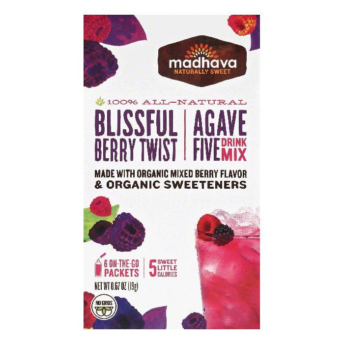 Madhava Blissful Berry Twist Agave Five Drink Mix, 6 ea (Pack of 6)