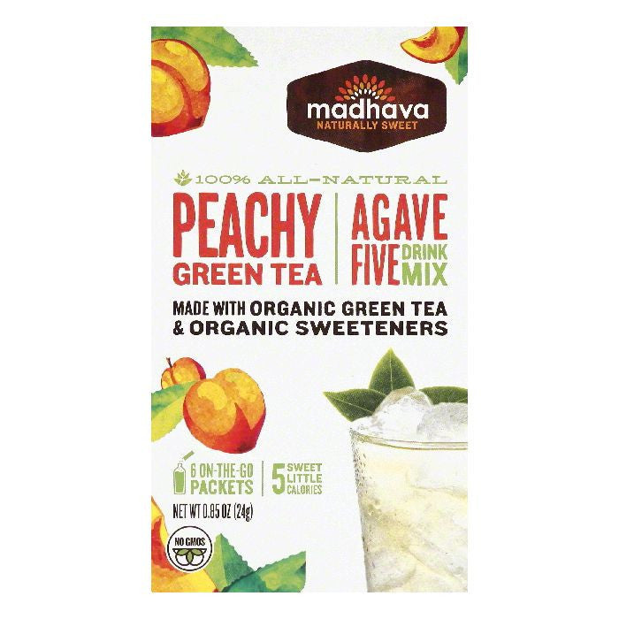 Madhava Peachy Green Tea Agave Five Drink Mix, 6 ea (Pack of 6)