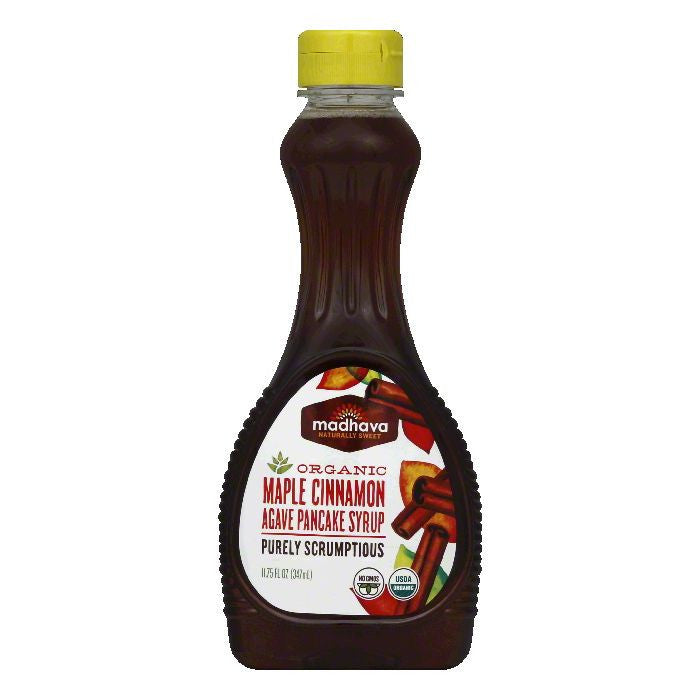 Madhava Organic Maple Cinnamon Agave Pancake Syrup, 11.75 FO (Pack of 6)