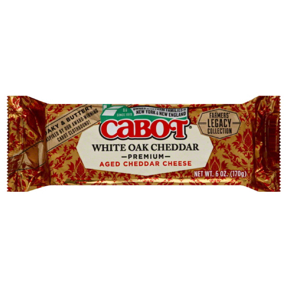 Cabot White Oak Cheddar Premium Aged Cheddar Cheese, 6 Oz (Pack of 12)