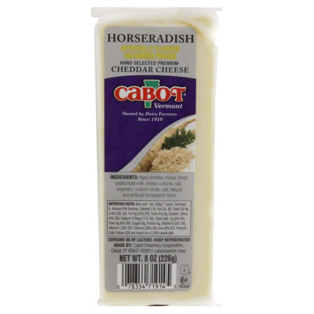 Cabot Horseradish Cheddar Cheese, 8 Oz (Pack of 12)