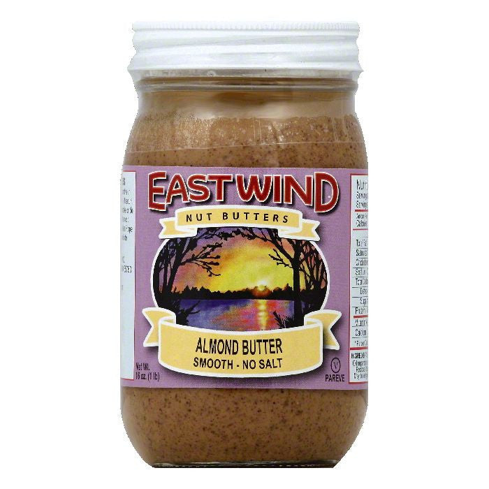 East Wind No Salt Smooth Almond Butter, 16 OZ (Pack of 12)