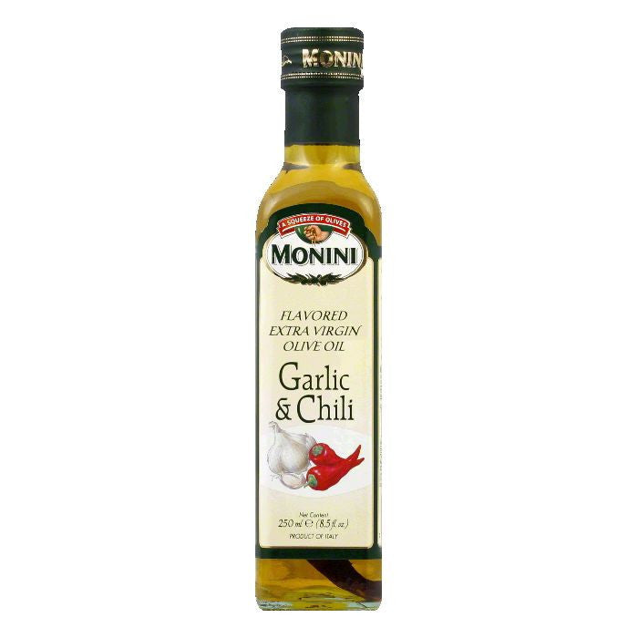 Monini Extra Virgin Olive Oil Garlic Chili, 8.5 OZ (Pack of 6)