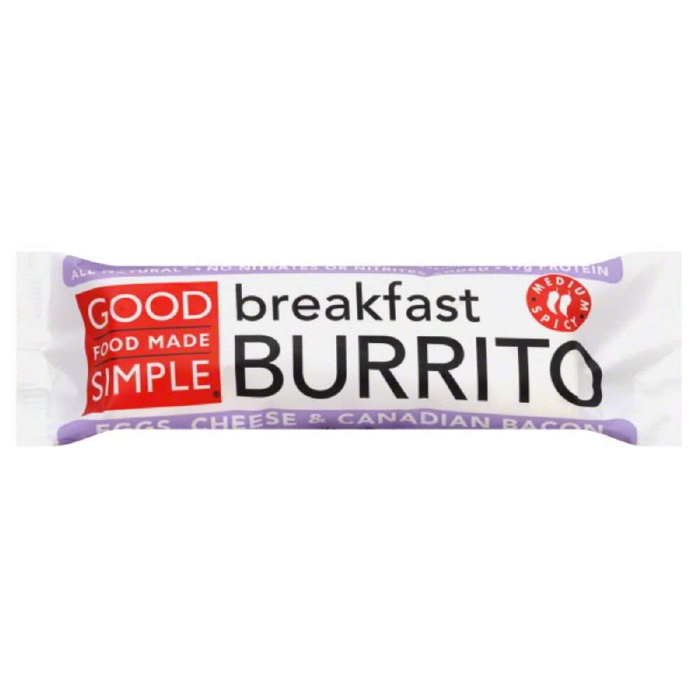 Good Food Made Simple Medium Spicy Cheese & Canadian Bacon Eggs Breakfast Burrito, 5 Oz (Pack of 12)