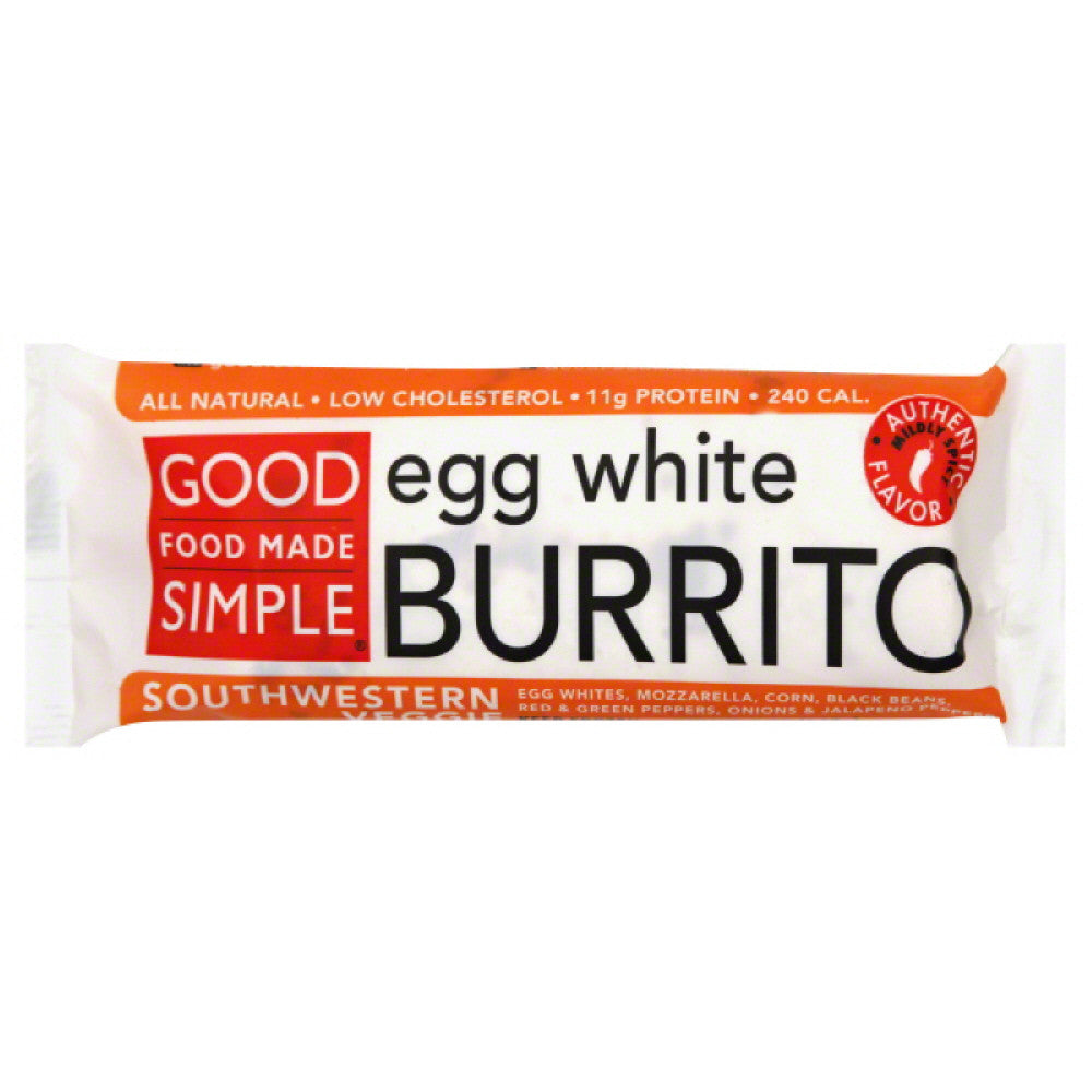 Good Food Made Simple Mildly Spicy Southwestern Veggie Egg White Burrito, 5 Oz (Pack of 12)
