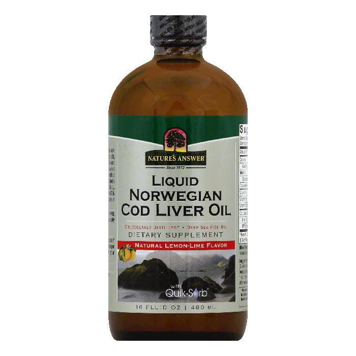 Natures Answer Natural Lemon-Lime Flavor Liquid Norwegian Cod Liver Oil, 16 OZ