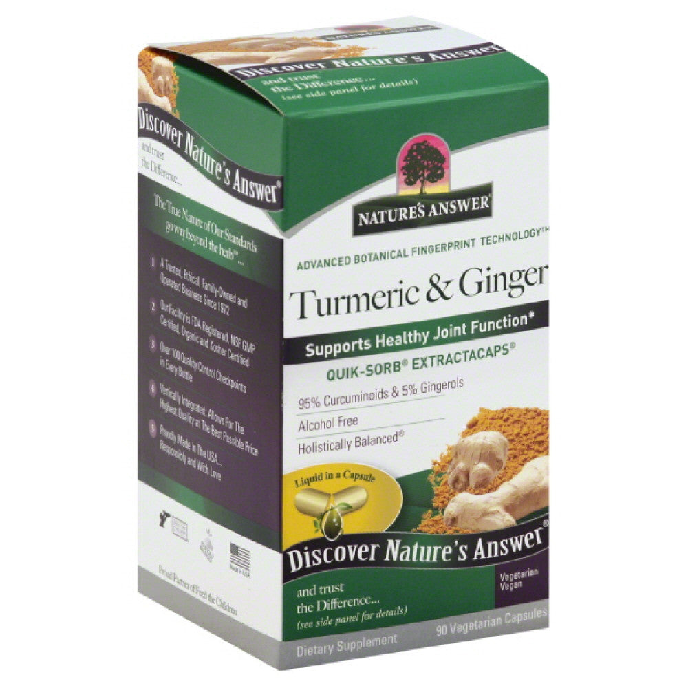 Natures Answer Vegetarian Capsules Turmeric & Ginger, 90 Vc
