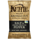 Kettle Brand Krinkle Cut Salt & Fresh Ground Pepper Potato Chips 5 Oz Bag (Pack of 15)