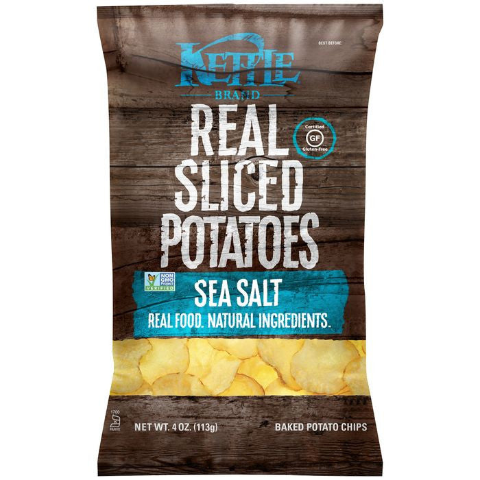 Kettle Brand Sea Salt Real Sliced Potatoes 4 Oz Bag (Pack of 15)