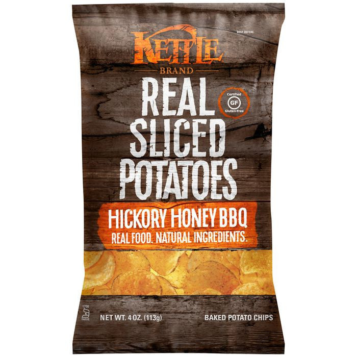 Kettle Brand Hickory Honey Barbeque Real Sliced Potatoes 4 Oz Bag (Pack of 15)