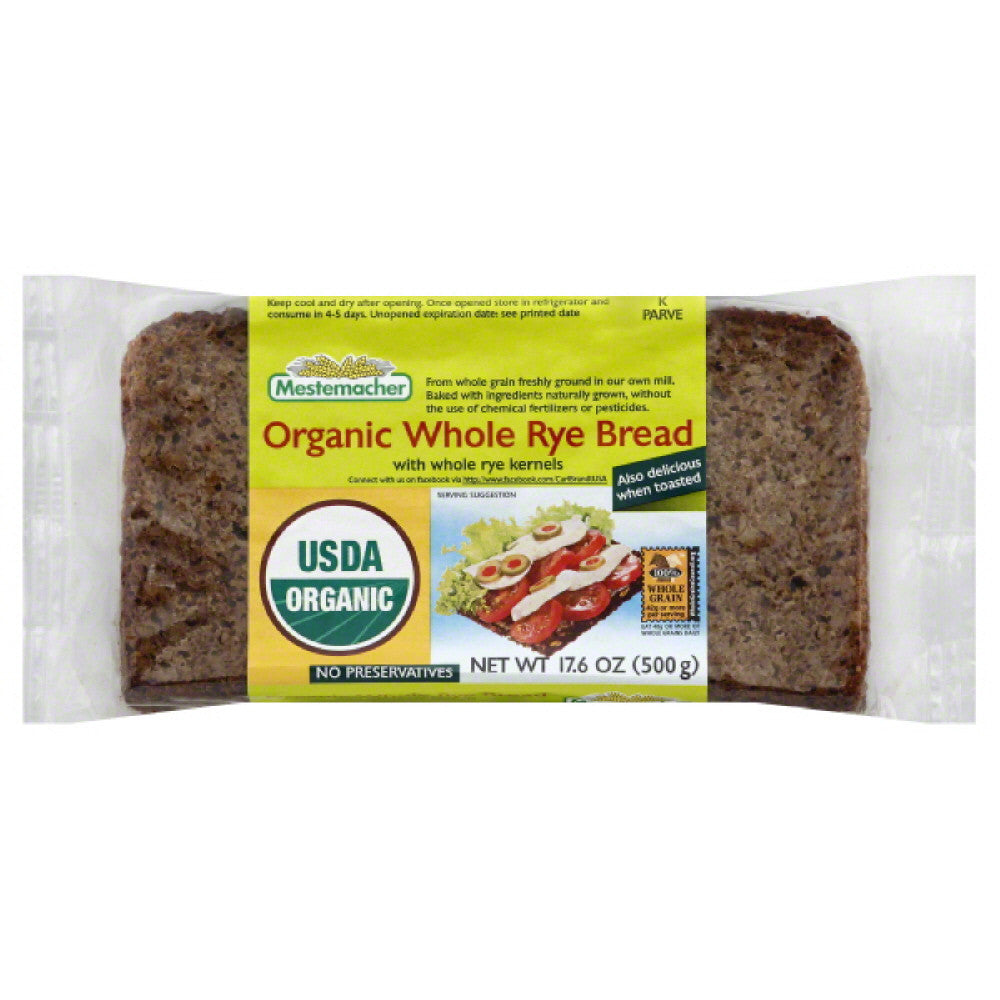 Mestemacher Whole Rye  Organic Bread, 17.6 Oz (Pack of 12)