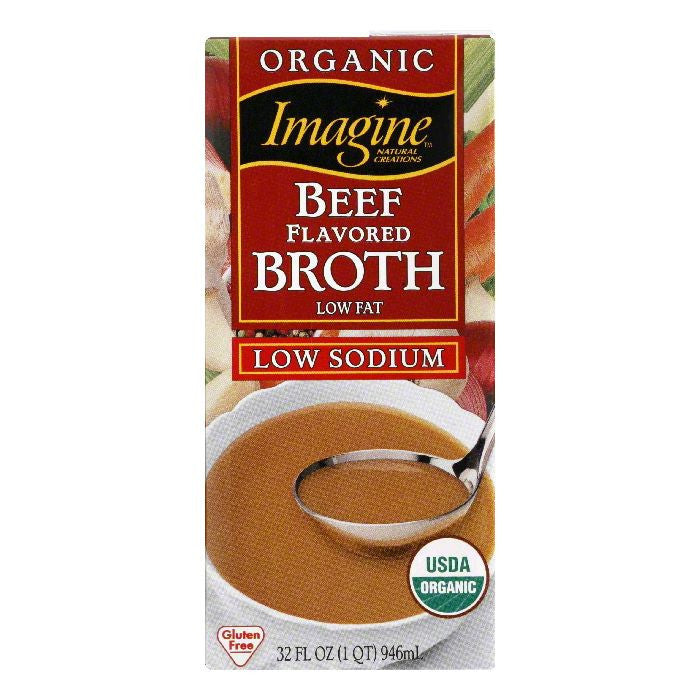 Imagine Broth Beef Organic Low Sodium, 32 OZ (Pack of 12)