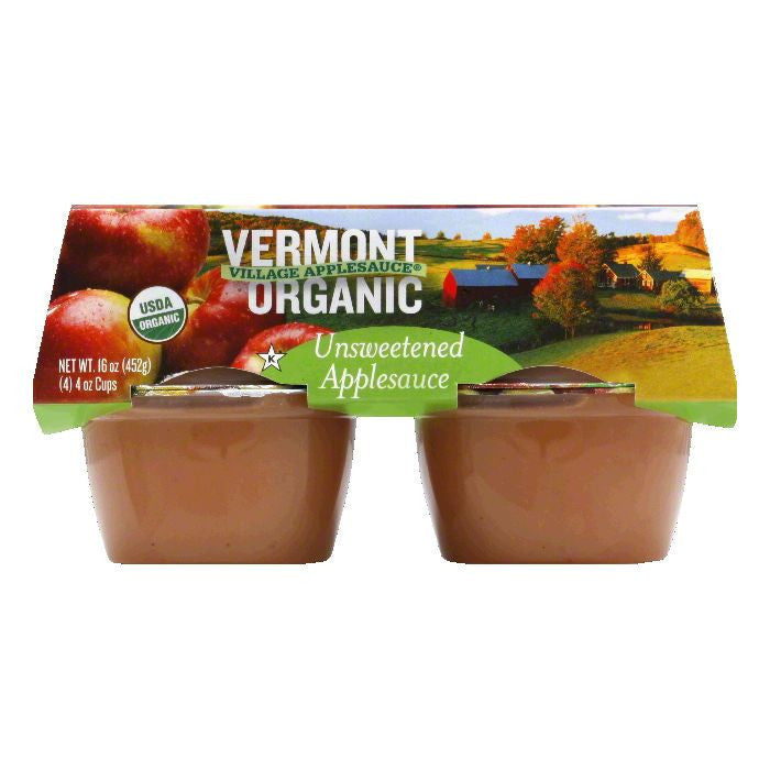 Vermont Village Applesauce Cups Unsweetened 4 pack, 16 OZ (Pack of 12)