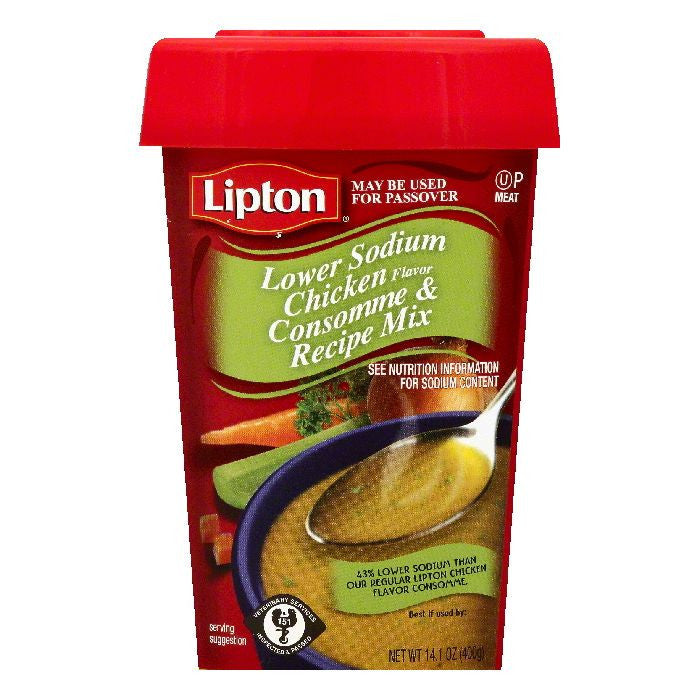 Lipton Lower Sodium Chicken Flavor Consomme & Recipe Mix, 14.1 OZ (Pack of 12)