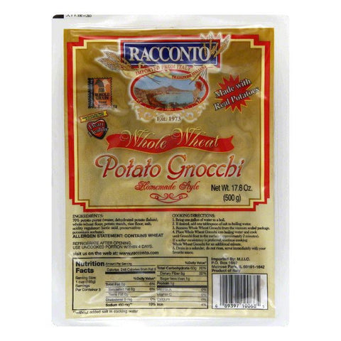 Racconto Homemade Style Whole Wheat Potato Gnocchi, 17.6 Oz (Pack of 12)