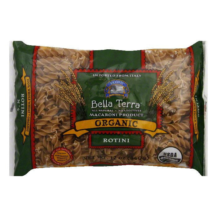 Bella Terra Pasta Rotini Whole Wheat Organic, 12 OZ (Pack of 12)
