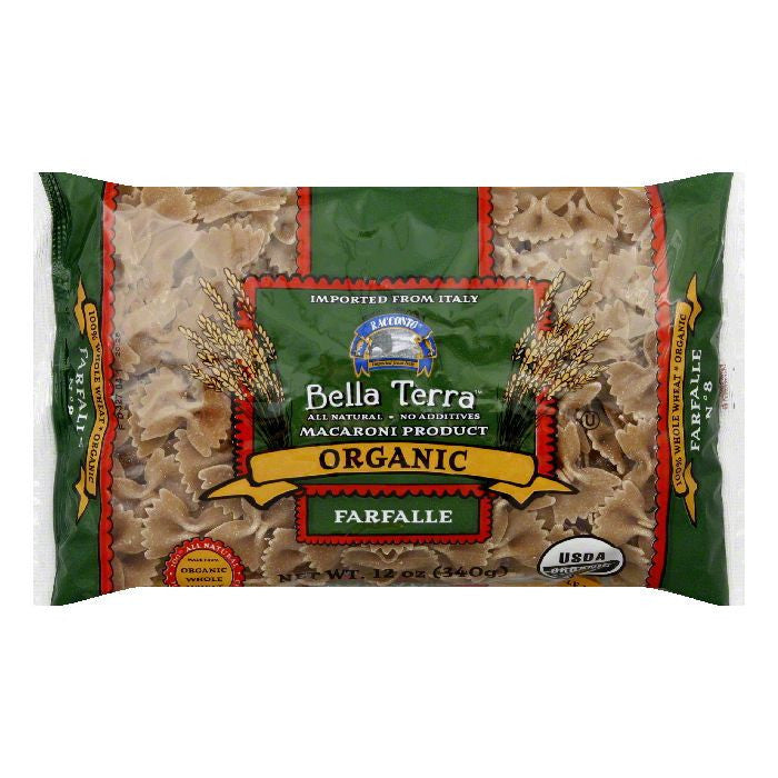 Bella Terra Pasta Farfalle Bow Ties Whole Wheat Organic, 12 OZ (Pack of 12)