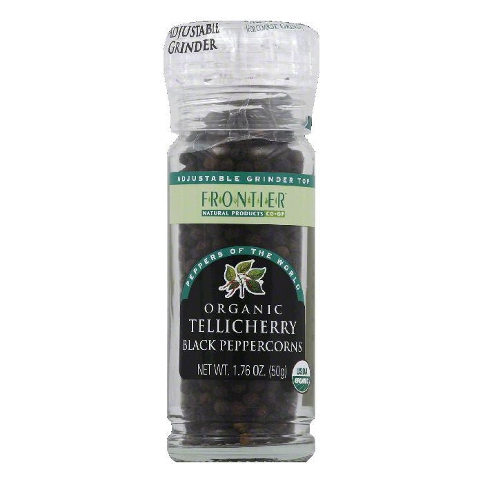 Frontier Tellicherry Black Organic Peppercorns, 1.76 Oz (Pack of 6)